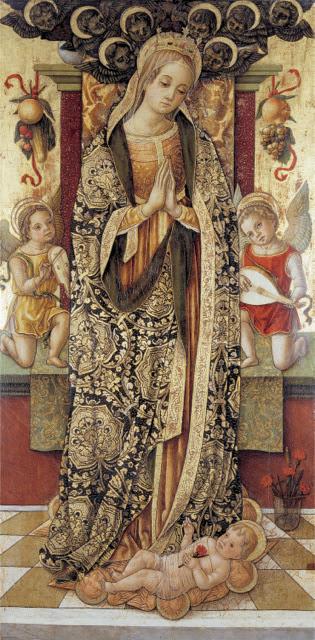Vittore Crivelli - Madonna adorante il Bambino tra due angeli musicanti- Pinacoteca Comunale - Sarnano
